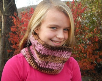 Extra soft hand crocheted cowl in pinks, tans, and browns