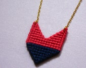 Geometric Chevron Necklace,Pink and Navy necklace, pendant necklace