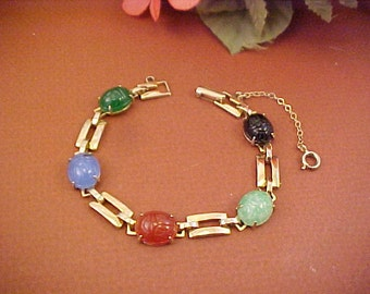 Vintage Scarab Link Bracelet With Safety Chain