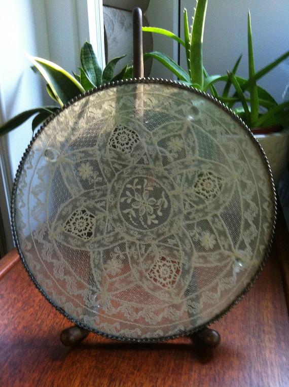 Vintage Crocheted Doily Framed Under Glass