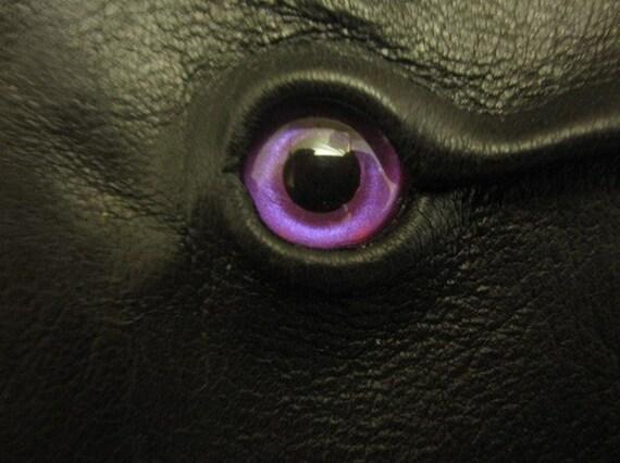 Grichels leather bookmark - black with custom metallic purple eye