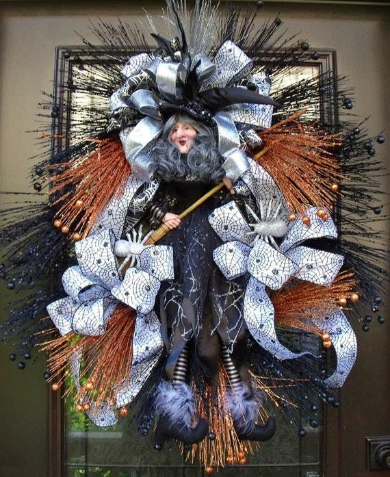 Halloween Wreaths, Witch Wreath, Door Decor, Fall Door Wreath, Halloween Decoration, Black and Silver