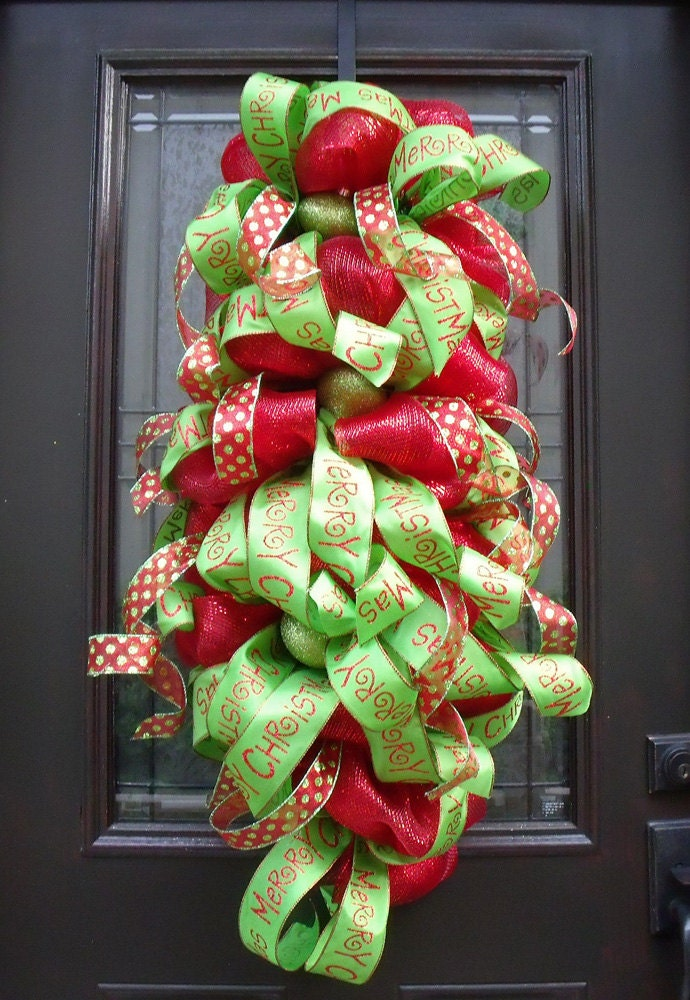 Christmas Mesh Wreath Deco Mesh Swag Christmas Wreath Red