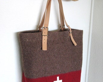 Swiss Army  Blanket  Bag- OOAK- XL Beach Bag -durable shopping Tote- Taupe Grey Red - white Swiss cross  Leather- Industrial Military