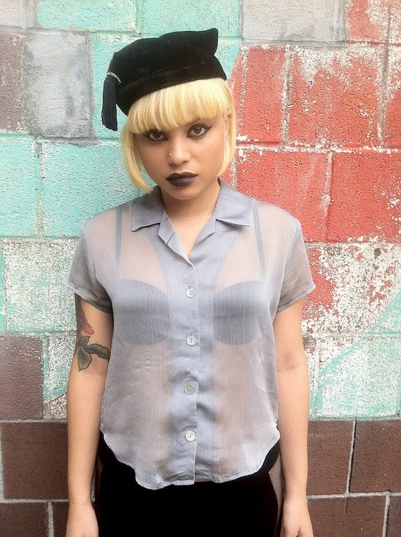 SALE 90s Silver Sheer Blouse S/M