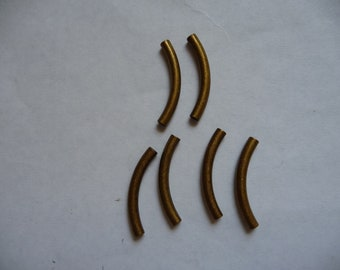 Bead, Antiqued Gold-Plated Brass, 26x3mm curved tube, Pkg Of 12
