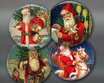 Christmas decorations with Victorian Christmas images - Christmas decor for the kitchen - Victorian Santa refrigerator magnet set