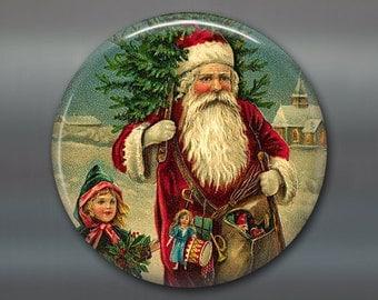 holiday magnet, victorian santa magnet, christmas decoration, kitchen decor, large magnet, oversize magnet  MA-1318