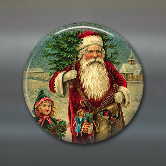 holiday magnet, victorian santa magnet, christmas decoration, kitchen decor, large magnet, oversize magnet MA-1318