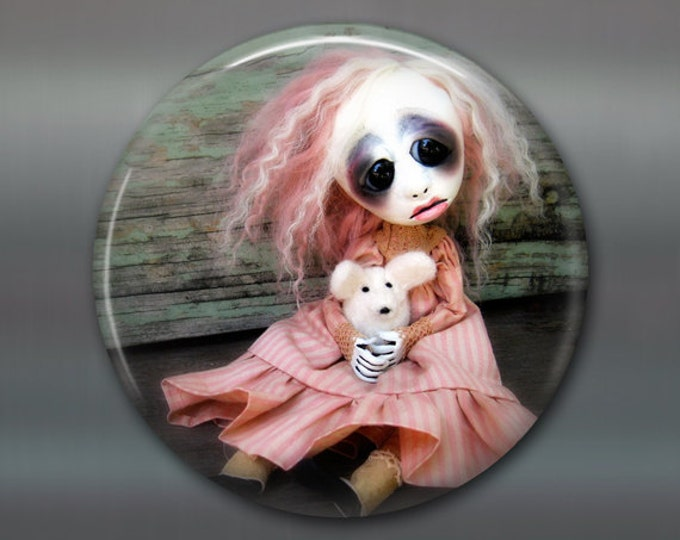 """3.5"""" gothic doll fridge magnet, large magnet, kitchen decor, gift for doll collector, gothic art decor, stocking stuffer gift for her MA-AD5"""