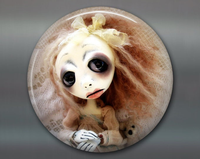 "3.5"" gothic doll fridge magnet, large magnet, kitchen decor, gift for doll collector, gothic art decor, stocking stuffer MA-AD52"