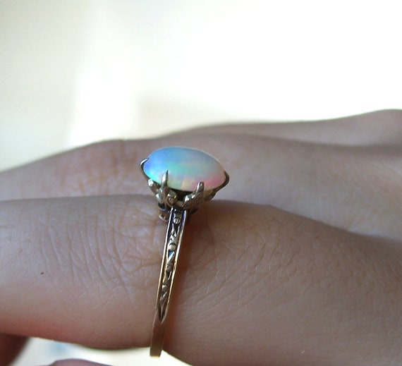 Antique Opal Ring 14K Gold Edwardian Chased Unusual Setting Size 6.5