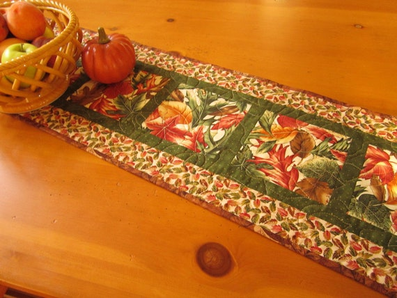 Thanksgiving Quilted Table Runner Patterns : Fall Foliage Table Runner Fall Table Runner Autumn Table
