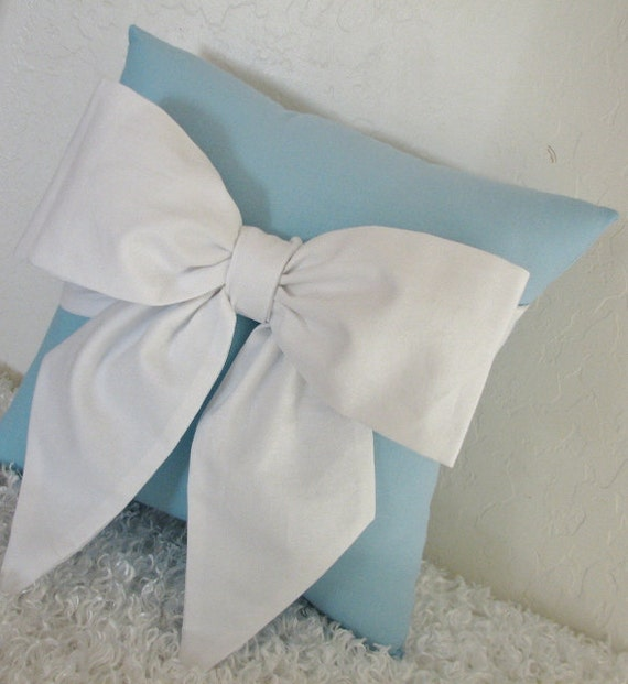 Blue and White Bow Accent Throw Pillow by by pillowsbycindee
