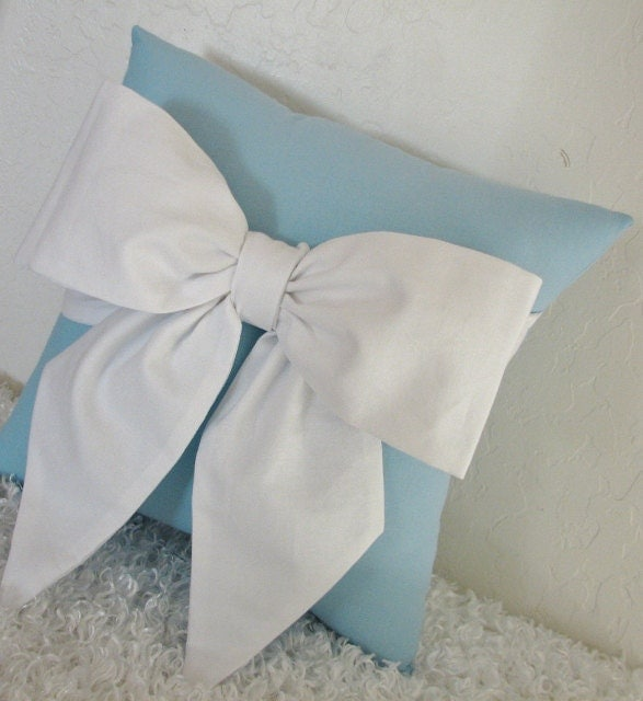 Throw Pillow With Bow : Blue and White Bow Accent Throw Pillow by by pillowsbycindee