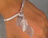 Sterling silver bracelet Simple filigree leafs falling leafs bracelet jochec leaf bracelet leaf jewelry modern sterling silver bracelet