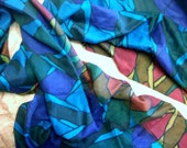Beautiful Unisex Abstract Print Recycled Sari Pure Silk Scarf (21x70)