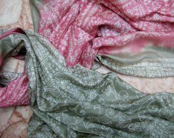 Beautiful Pink Abstract  Print  Recycled sari pure silk scarf (42x70)