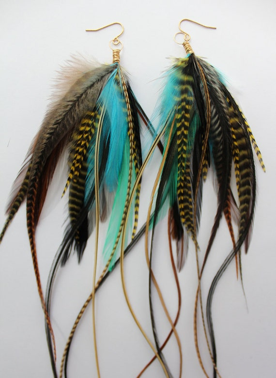 Tiger Lily - Really Long Feather Earrings