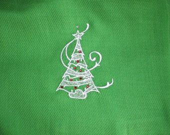 Scarf (Pashmina) - Kelly Green with White Embroidered Christmas Tree with Red Crystals