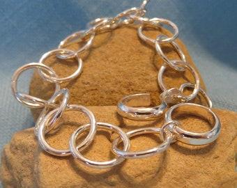 Sterling Silver Chain Bracelet Heavy Industrial Link Charm Bracelet  JJDLJewelryArt