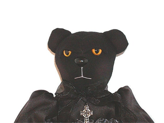 Teddy Bear Doll, Black, Doll, Gothic, Goth, Creepy, Gothic Doll, Moon, Stars, Yellow Eyes, Cross Pendant, Spider Web, Halloween