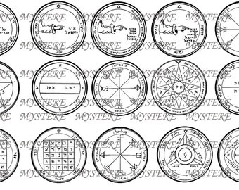 Moon Mercury Saturn Planetary Sigils - Solomonic Magick- Digital Collage Sheet - 1 inch circles