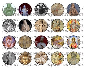 1 Inch Circles - Goddesses of the ancient world digital collage sheet