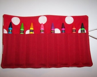 red and white large dots crayon roll up 8 count