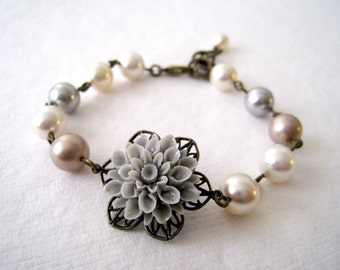 Flower Bracelet. grey mum flower with Swarovski crystal pearls bracelet. vintage style wedding