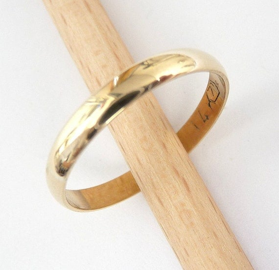 Wedding Band Classic 14k Gold 3mm Wide By 1mm Thick Womens