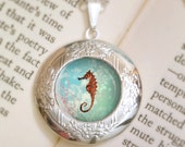Seahorse Locket - Silver Necklace - Wearable Art with Silver Chain