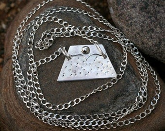 32 inch Long Sterling Silver Hammered Purse Pendant Necklace