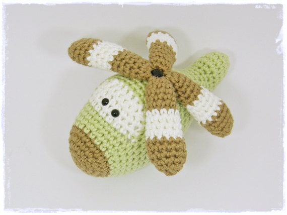 Amigurumi Toy Helicopter Baby Rattle with turnable blades organic cotton