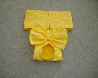 Female Dog Diaper / Panties - Bright Yellow with White Polka Dots