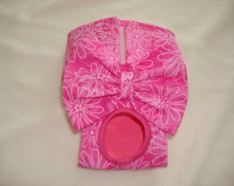 Bright Pink with Flowers - Female Dog Diaper / Panties - XXS - Small