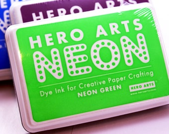 Hero Arts NEON GREEN Ink pad for paper projects and scrapbooking