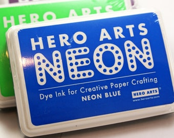 Hero Arts NEON BLUE Ink pad for paper projects and scrapbooking