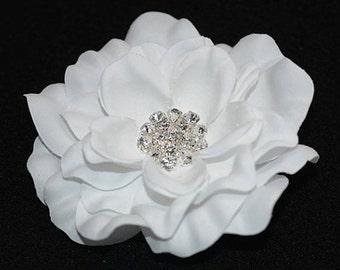 Bridal Accessories Bridal Hairflower Wedding Hairpiece Nature White Hairflower - Bridal Natural White Hair Flower with Rhinestone Center