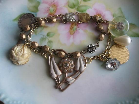 Mercy.vintage antique assemblage religious  rhinestone jewelry bracelet