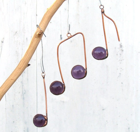 Three Glass Musical Notes Purple and Copper Suncatcher Ornaments