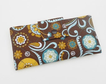 Quilted Wallet, Vegan Wallet, Clutch Wallet, Brown Teal Wallet, Laura Bradley style Made in USA