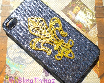 Brass - Metal Stamping - Fleur De Lis on Black Glitter Sparkle Bling Case Cover for Apple iPhone 4 4G 4S AT&T Verizon Sprint