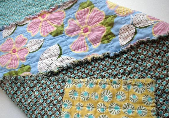 Handmade Baby Rag Quilt Stroller Car Seat Cover Changing Pad Yellow Blue Green Floral Photo Prop ready to ship