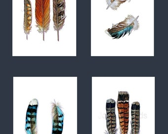 4 Archival Feather Prints - Instant Collection