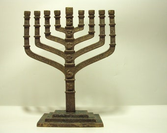 menorah 1950s chanukiah judaica menorah solid brass Original made in Israel Jerusalem. Free fast Shipping!!!