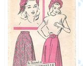 "1940s pattern - Advance 4670 - skirt, belt & hat pattern - 26.5"" waist"