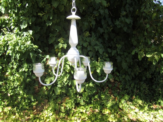 HANGING CHANDELIER CANDLE Holder 5 Arm   Satin White