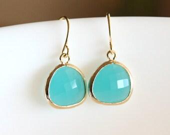 Blue aqua glass stone in bezel earrings, blue earrings, gold earrings, bridesmaid gifts, wedding jewelry, teal blue, gold earrings