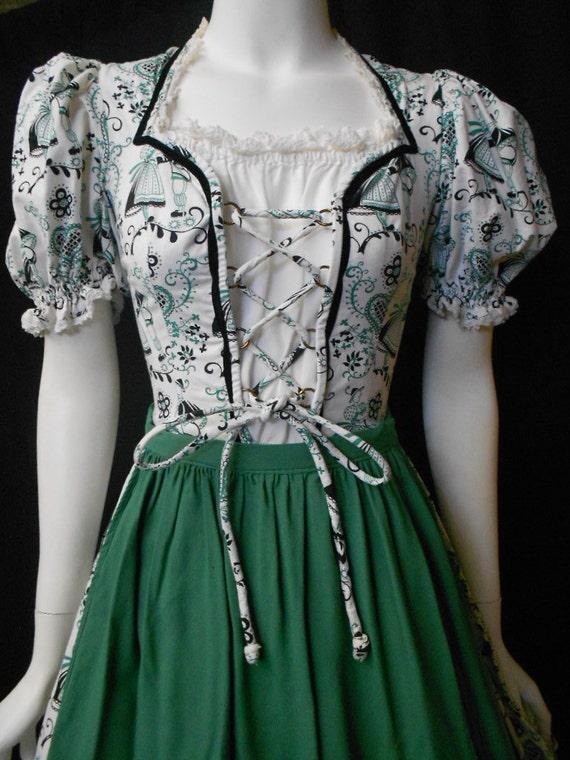 vintage authentic dirndl german skirt lace up front apron